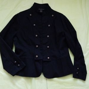 ASHLEY STEWART black military style denim jacket